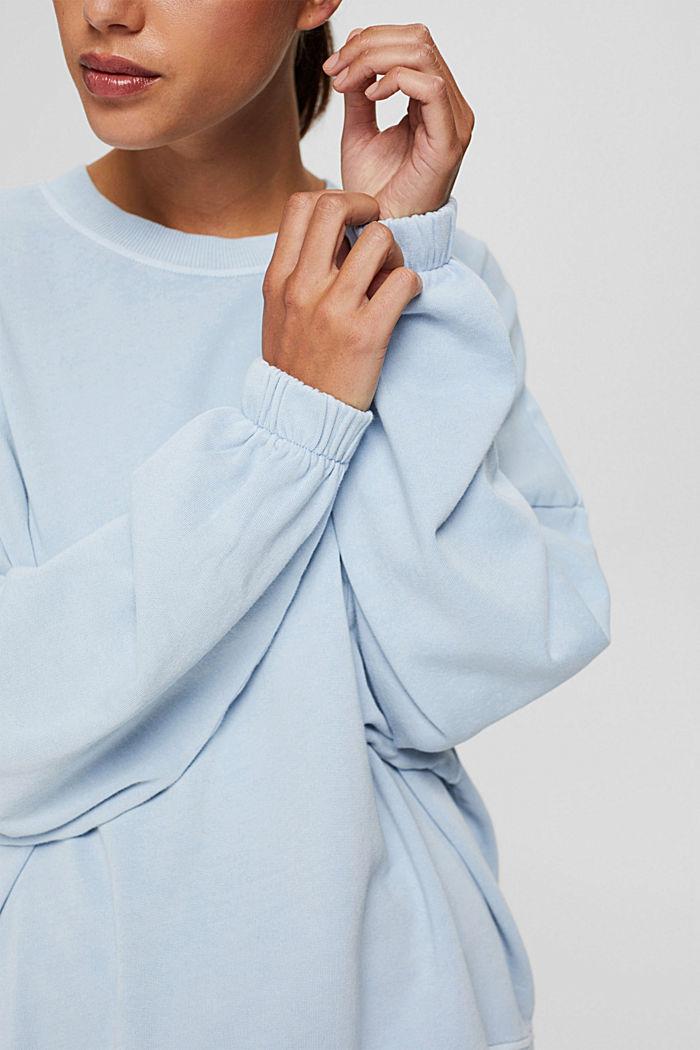 High-Low-Sweatshirt aus 100% Bio-Baumwolle, PASTEL BLUE, detail image number 2