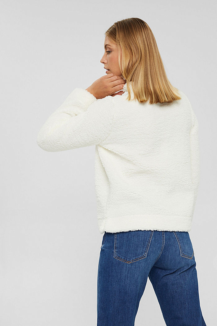 Stand-up collar sweatshirt made of teddy fur, OFF WHITE, detail image number 3