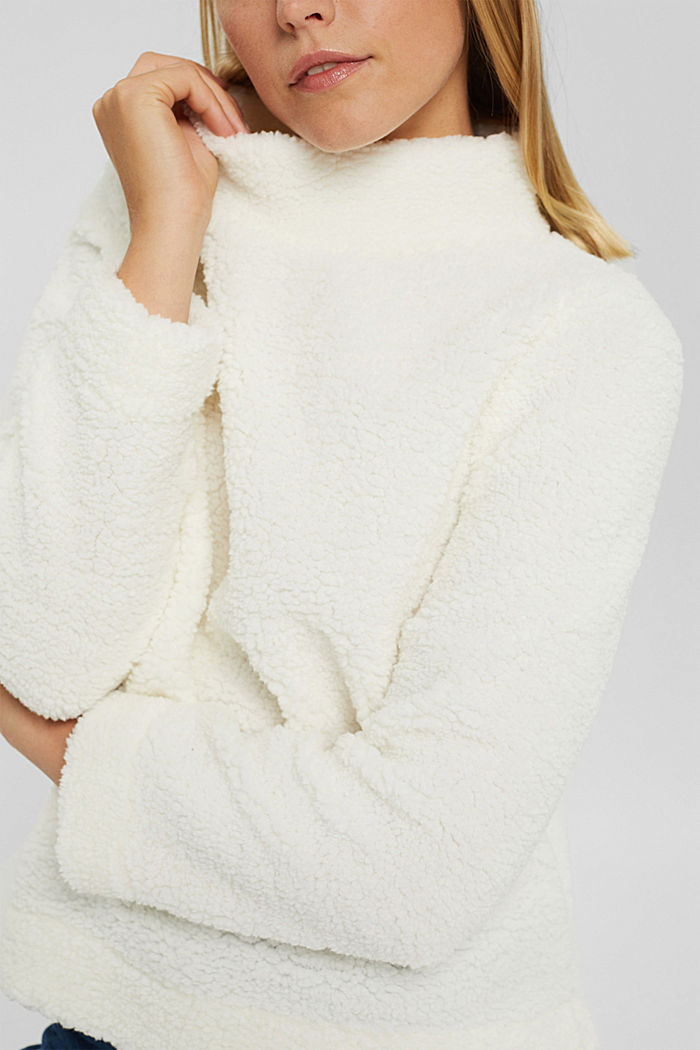 Stand-up collar sweatshirt made of teddy fur, OFF WHITE, detail image number 2