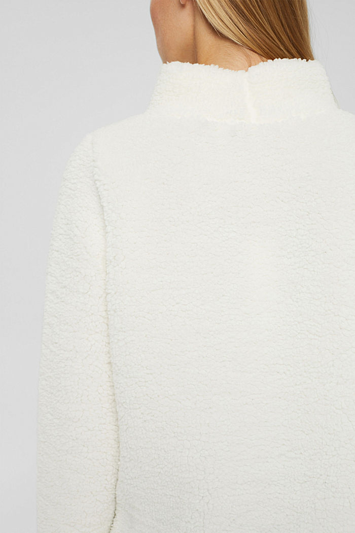 Stand-up collar sweatshirt made of teddy fur, OFF WHITE, detail image number 5