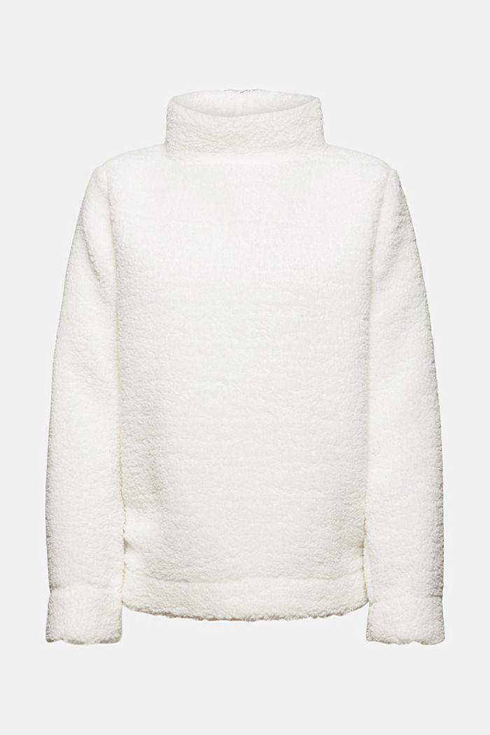 Sweat-shirt à col droit en peluche