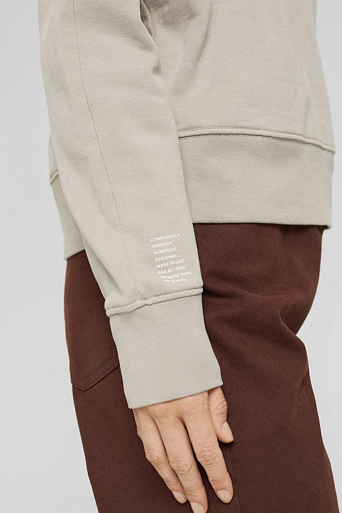 Sweatshirt made of 100% organic cotton, LIGHT TAUPE, detail image number 2