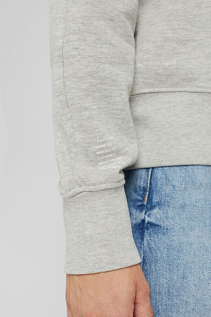 Meliertes Sweatshirt aus Bio-Baumwoll-Mix, LIGHT GREY, detail image number 2