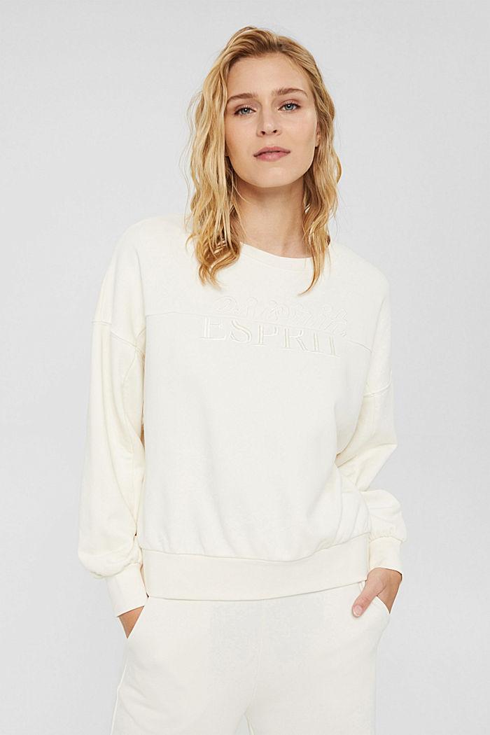 Besticktes Sweatshirt aus Bio-Baumwoll-Mix, OFF WHITE, detail image number 0