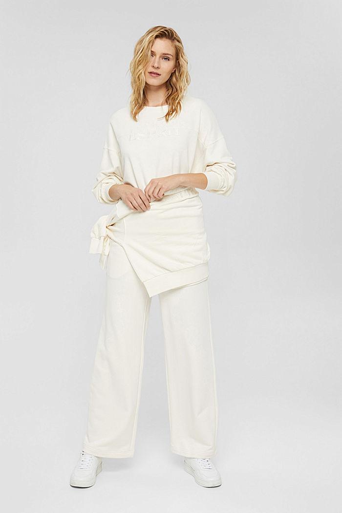 Besticktes Sweatshirt aus Bio-Baumwoll-Mix, OFF WHITE, detail image number 1
