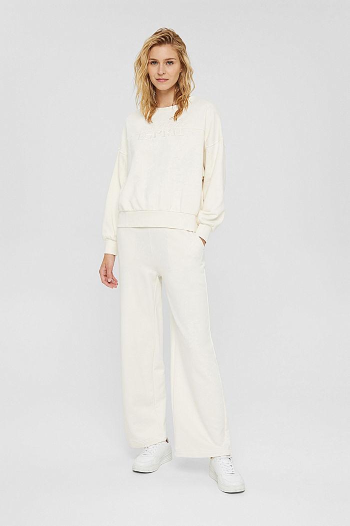 Besticktes Sweatshirt aus Bio-Baumwoll-Mix, OFF WHITE, detail image number 6