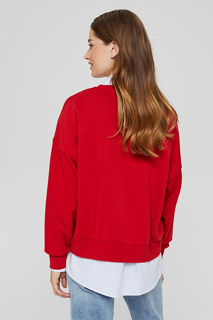 Geborduurd sweatshirt van een mix met biologisch katoen, RED, detail image number 3