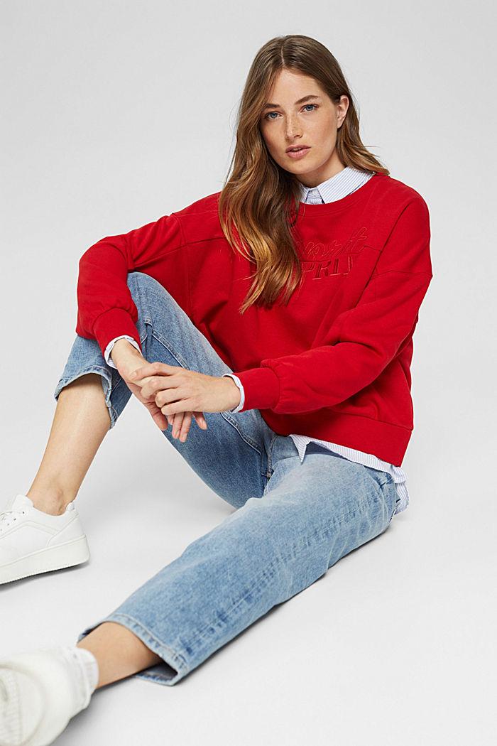 Geborduurd sweatshirt van een mix met biologisch katoen, RED, detail image number 5