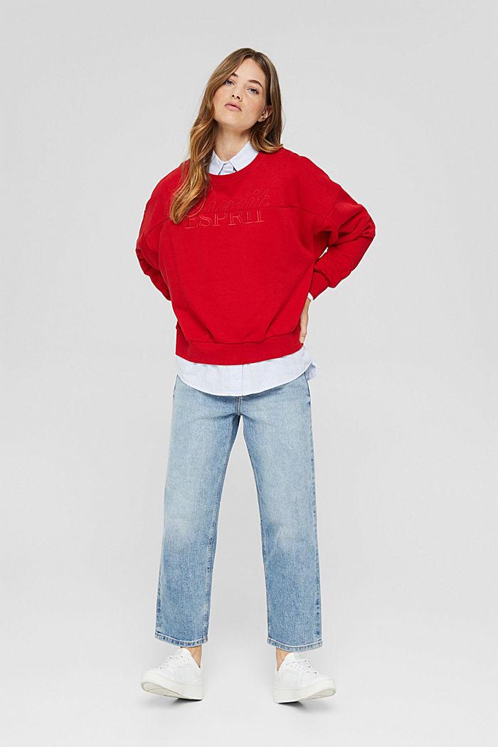 Geborduurd sweatshirt van een mix met biologisch katoen, RED, detail image number 1