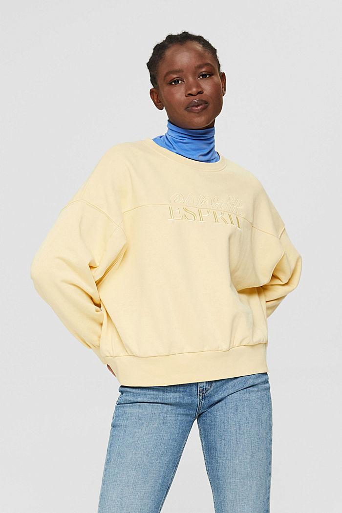 Sweat-shirt brodé en coton biologique mélangé, PASTEL YELLOW, detail image number 0