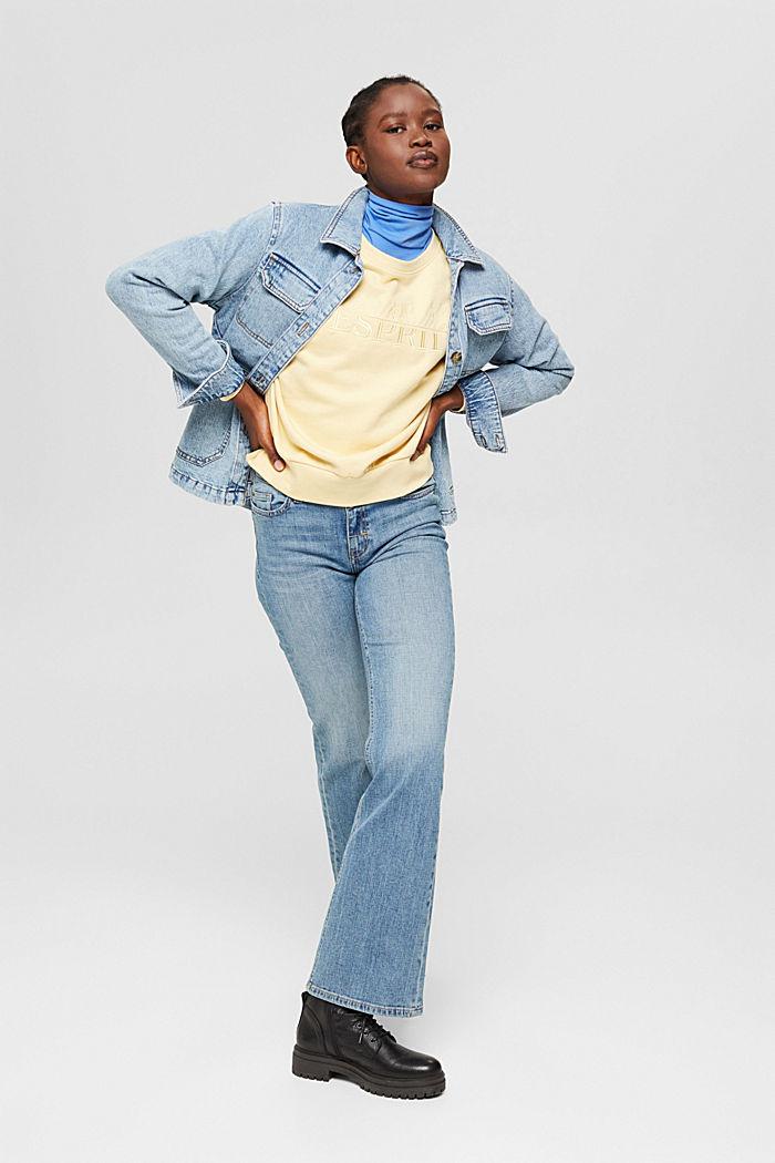 Sweat-shirt brodé en coton biologique mélangé, PASTEL YELLOW, detail image number 1
