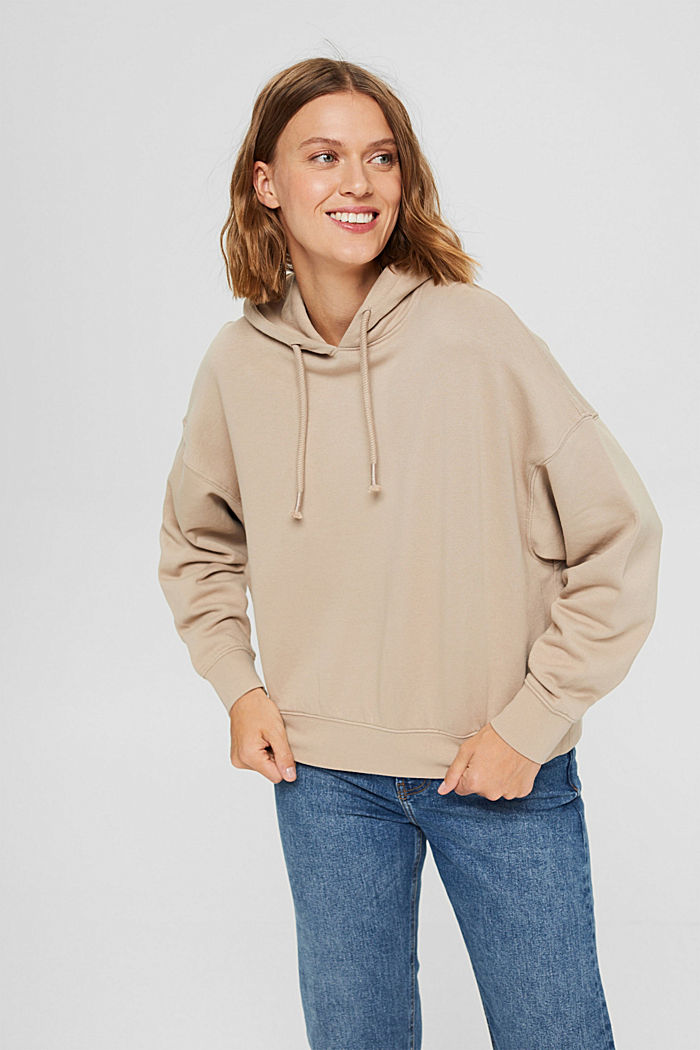 Relaxed hoodie with logo, 100% organic cotton, LIGHT TAUPE, detail image number 0