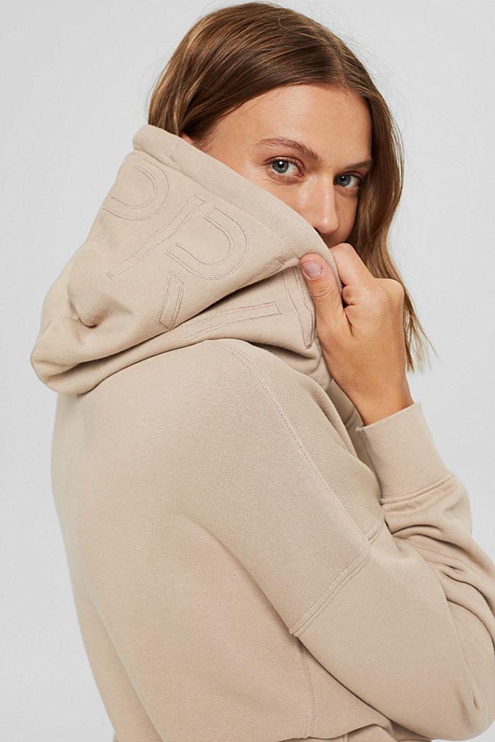 Sweat à capuche décontracté orné d'un logo, 100% coton biologique
