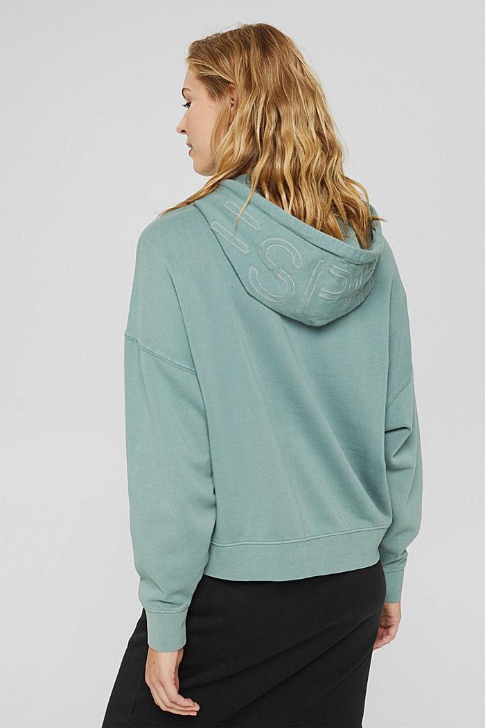 Relaxte hoodie met logo, 100% biologisch katoen, DUSTY GREEN, detail image number 3