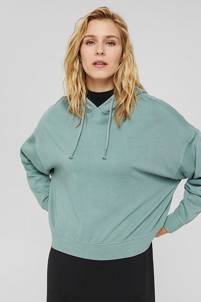 Relaxte hoodie met logo, 100% biologisch katoen, DUSTY GREEN, detail image number 6