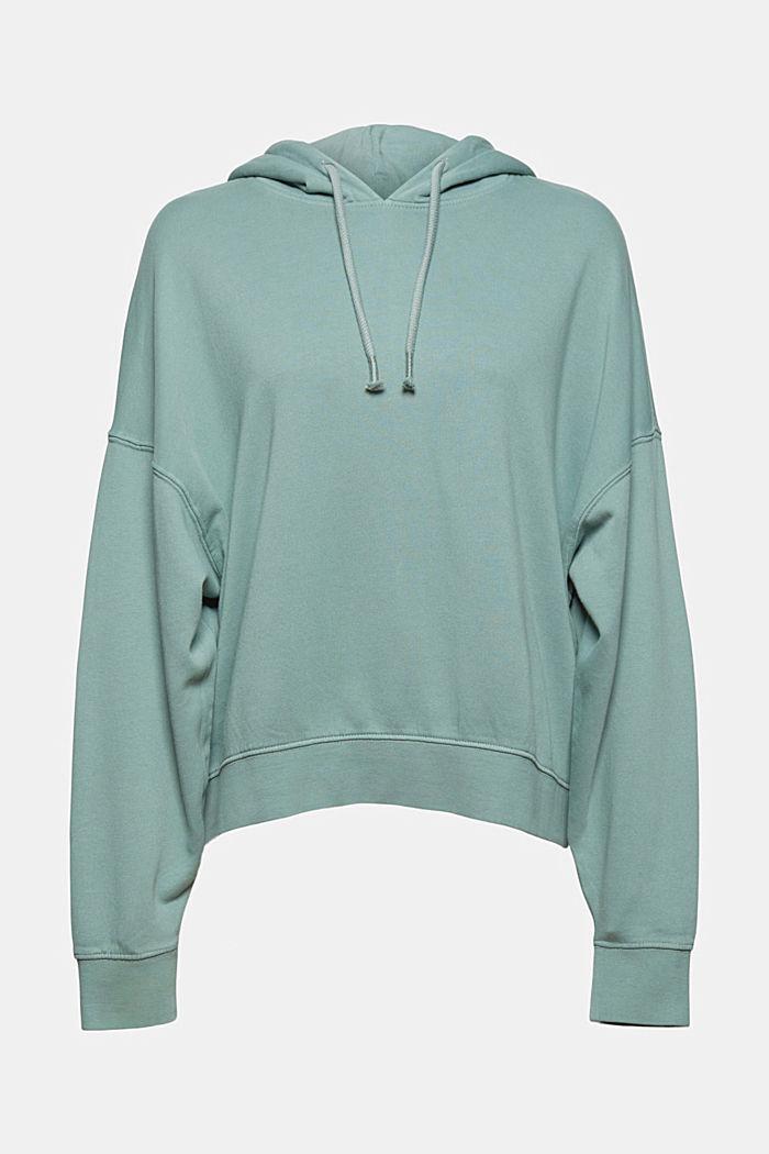 Relaxte hoodie met logo, 100% biologisch katoen, DUSTY GREEN, detail image number 7