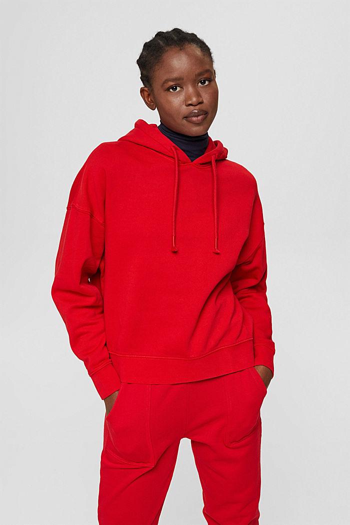 Relaxte hoodie met logo, 100% biologisch katoen, RED, detail image number 0