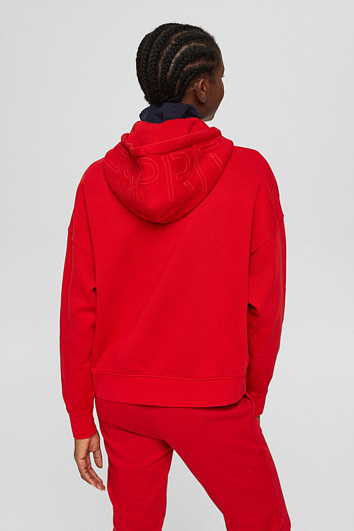 Relaxte hoodie met logo, 100% biologisch katoen, RED, detail image number 3