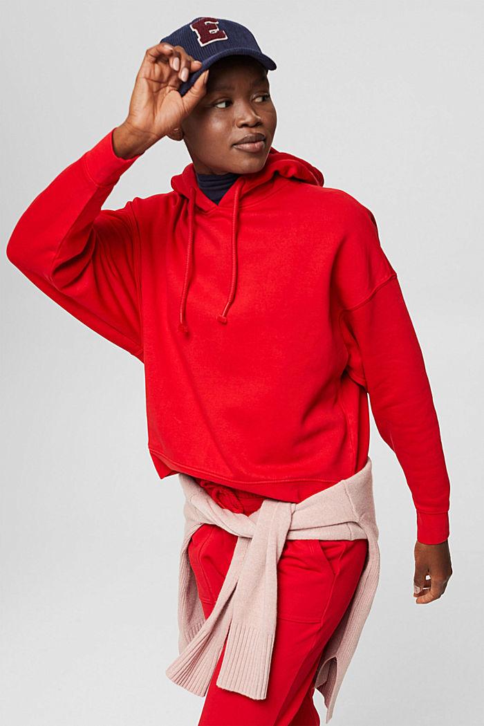 Relaxte hoodie met logo, 100% biologisch katoen, RED, detail image number 6