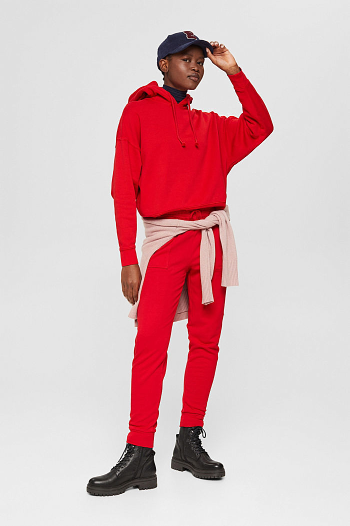 Relaxte hoodie met logo, 100% biologisch katoen, RED, detail image number 1