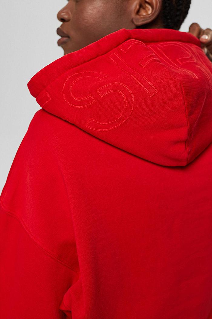 Relaxte hoodie met logo, 100% biologisch katoen, RED, detail image number 2