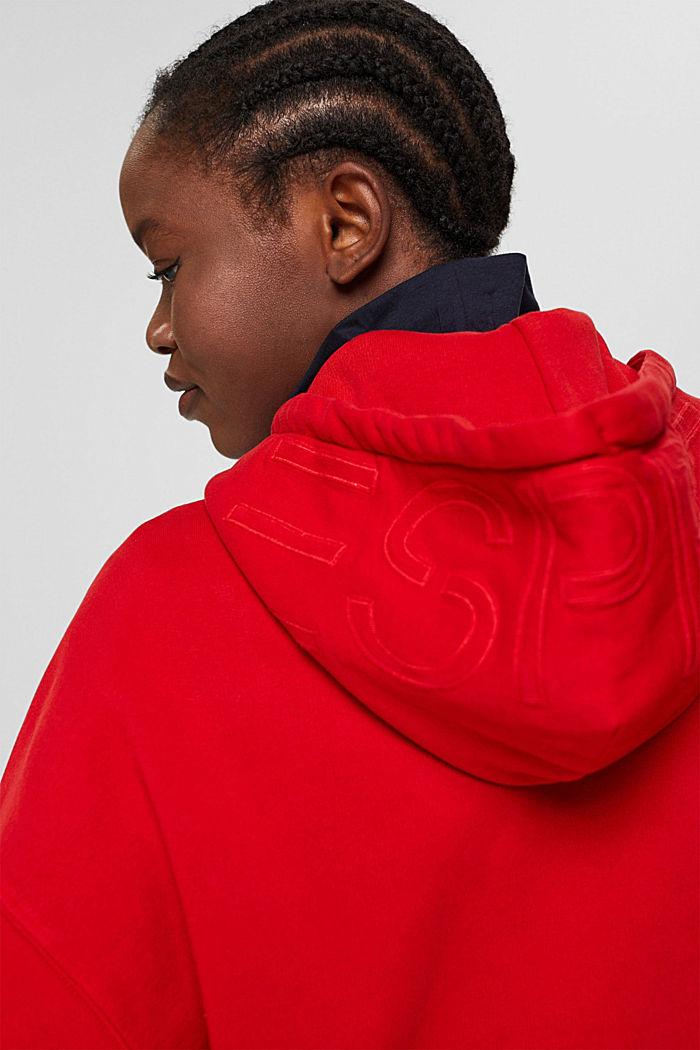 Relaxte hoodie met logo, 100% biologisch katoen, RED, detail image number 5
