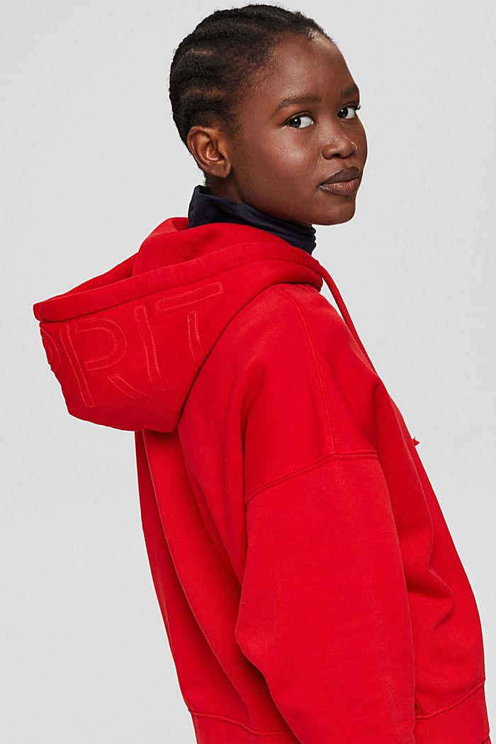 Relaxte hoodie met logo, 100% biologisch katoen, RED, detail image number 7