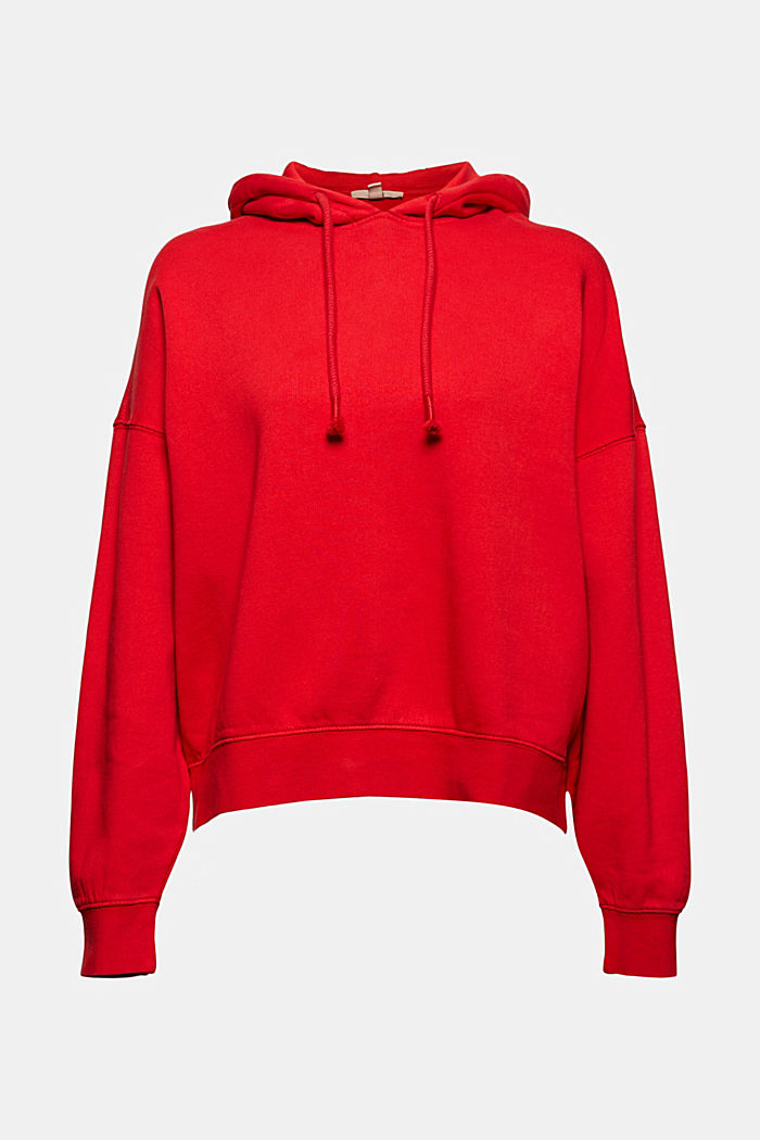 Relaxte hoodie met logo, 100% biologisch katoen, RED, detail image number 9