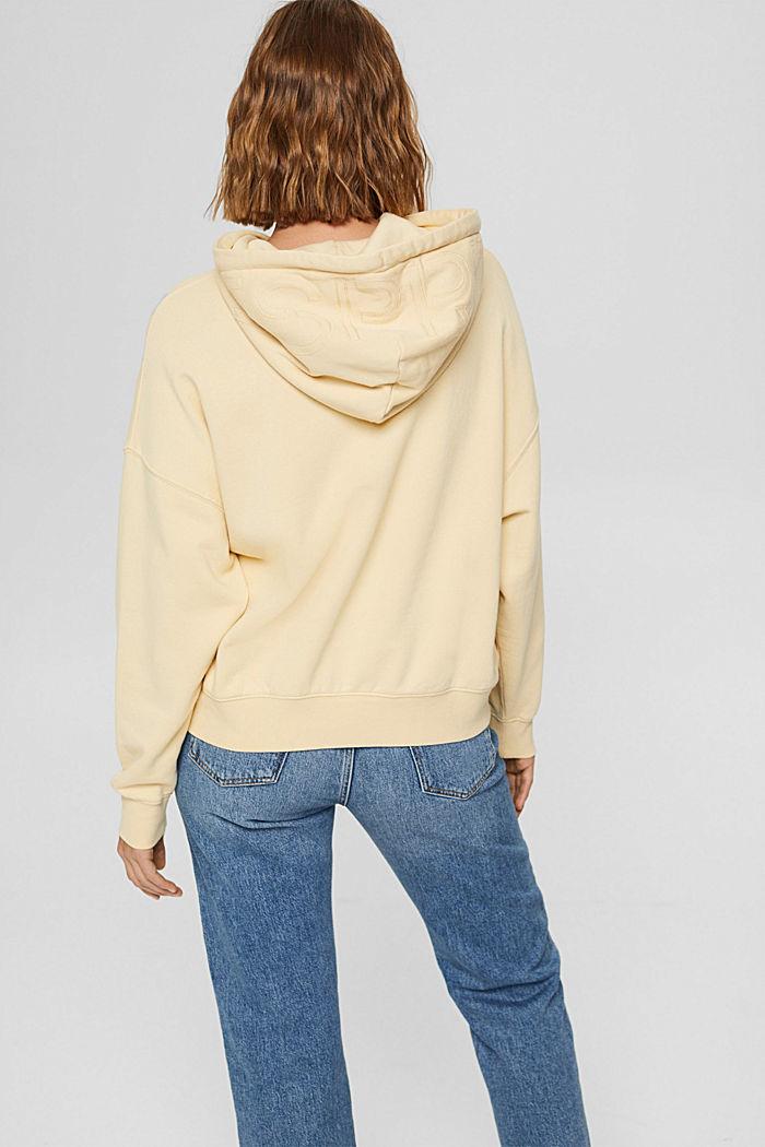 Relaxte hoodie met logo, 100% biologisch katoen, PASTEL YELLOW, detail image number 3