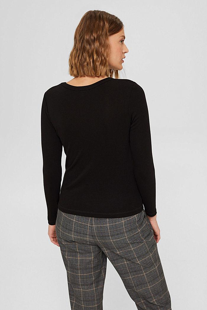 Van 100% TENCEL™: fijn geribde longsleeve, BLACK, detail image number 3