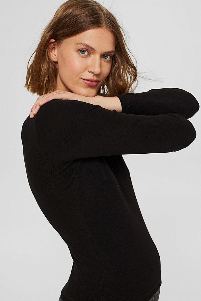 Van 100% TENCEL™: fijn geribde longsleeve, BLACK, detail image number 5