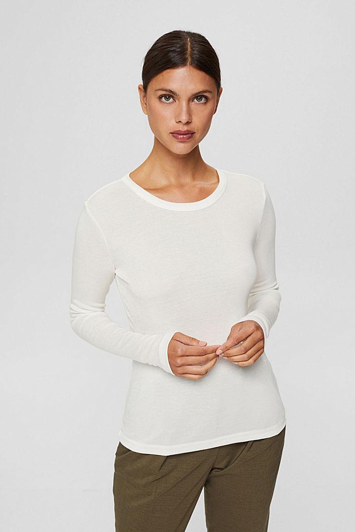 Van 100% TENCEL™: fijn geribde longsleeve, OFF WHITE, detail image number 0