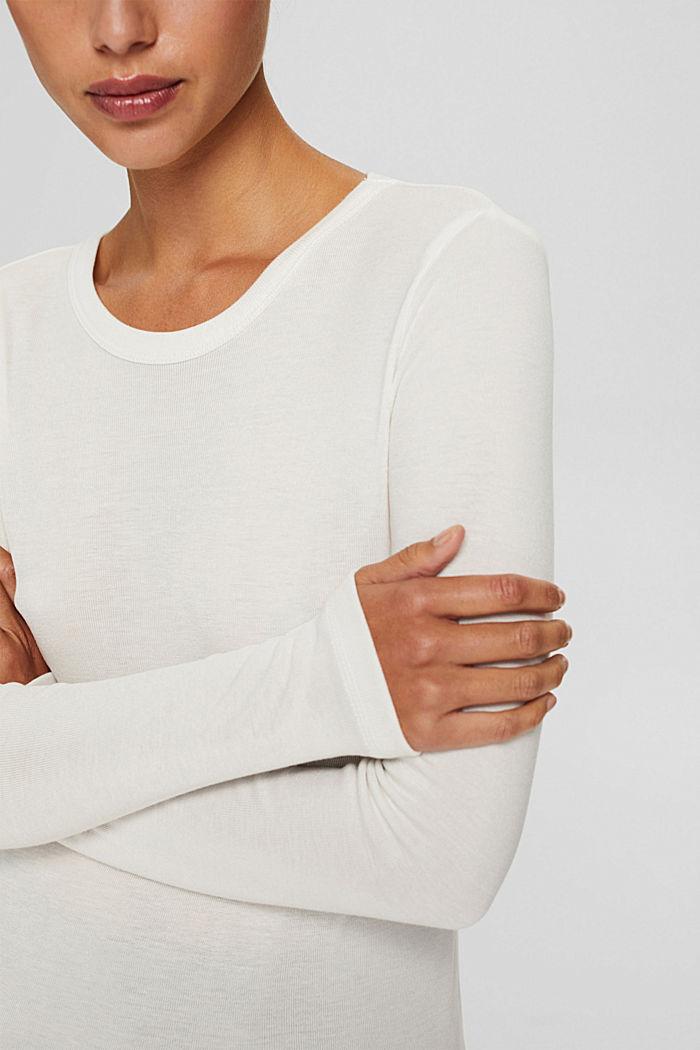 Van 100% TENCEL™: fijn geribde longsleeve, OFF WHITE, detail image number 2