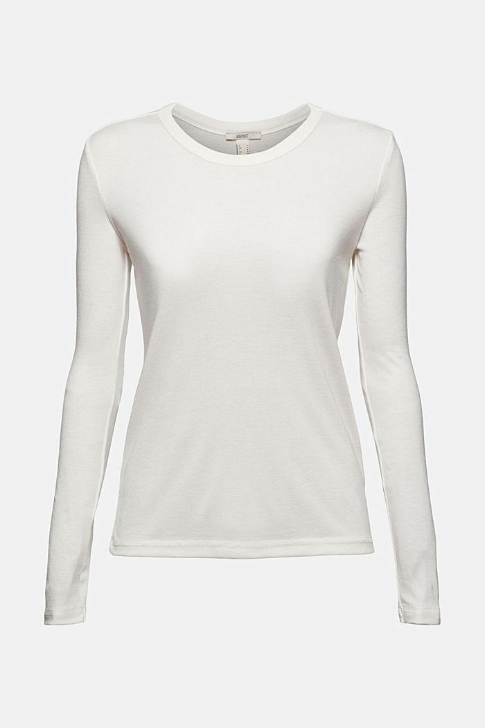 Van 100% TENCEL™: fijn geribde longsleeve, OFF WHITE, detail image number 5