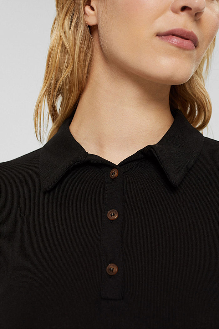Aus Lyocell (TENCEL™): Longsleeve im Polo-Stil, BLACK, detail image number 2
