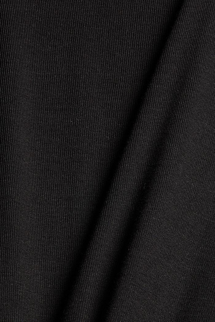 Aus Lyocell (TENCEL™): Longsleeve im Polo-Stil, BLACK, detail image number 4