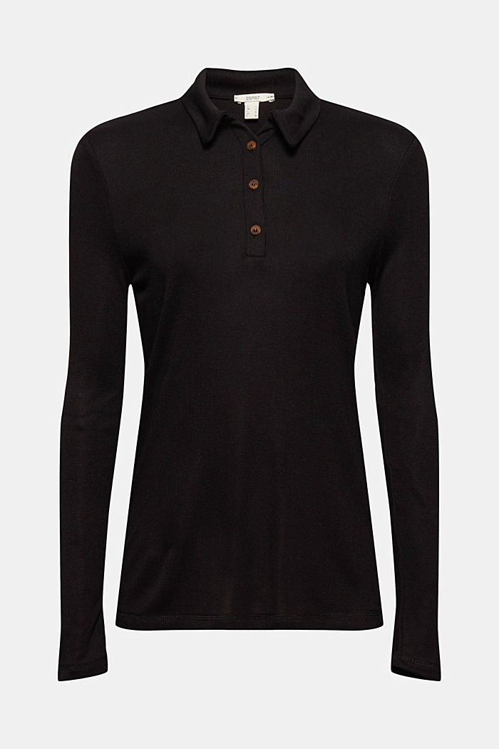 Made of lyocell (TENCEL™): long sleeve top in a polo shirt style