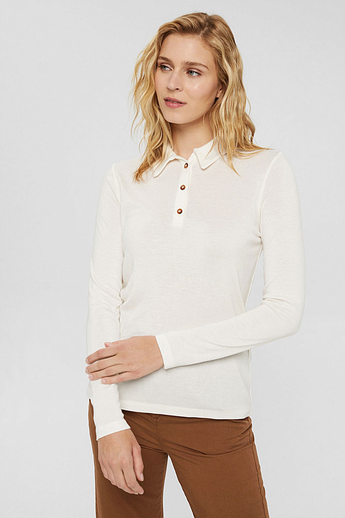 Made of lyocell (TENCEL™): long sleeve top in a polo shirt style, OFF WHITE, detail image number 0