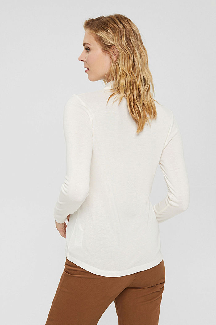 Made of lyocell (TENCEL™): long sleeve top in a polo shirt style, OFF WHITE, detail image number 3