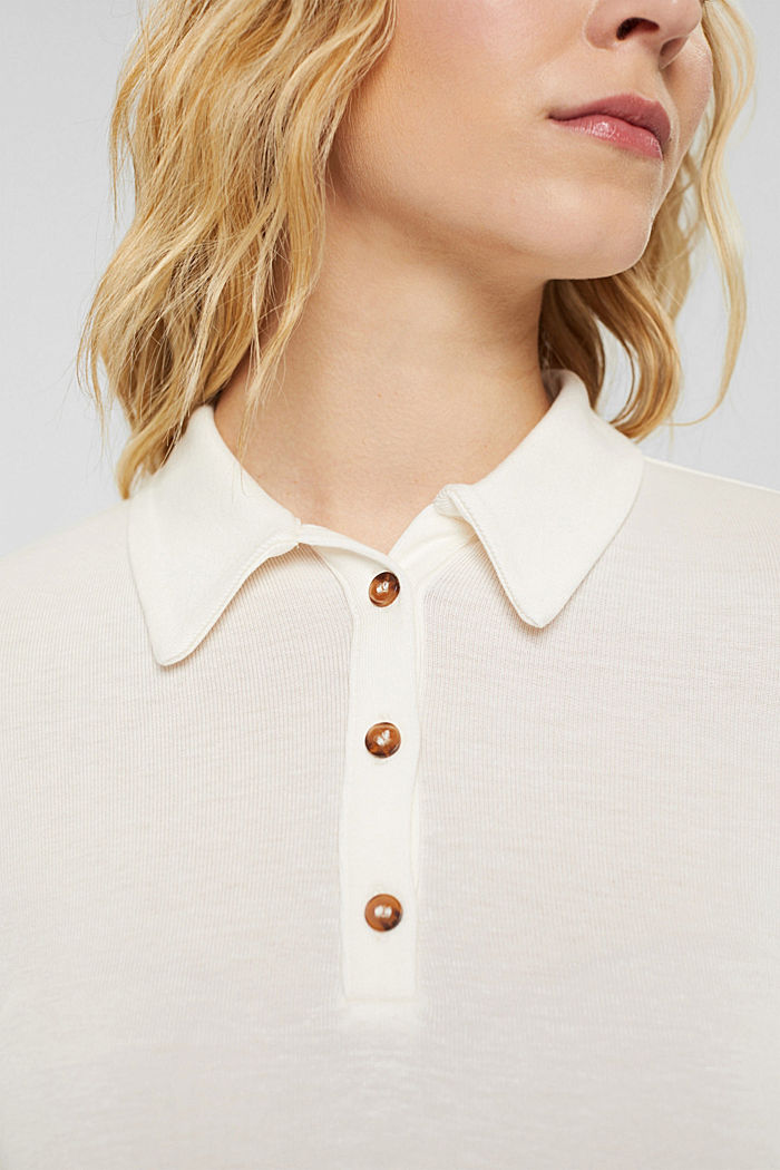 Made of lyocell (TENCEL™): long sleeve top in a polo shirt style, OFF WHITE, detail image number 2