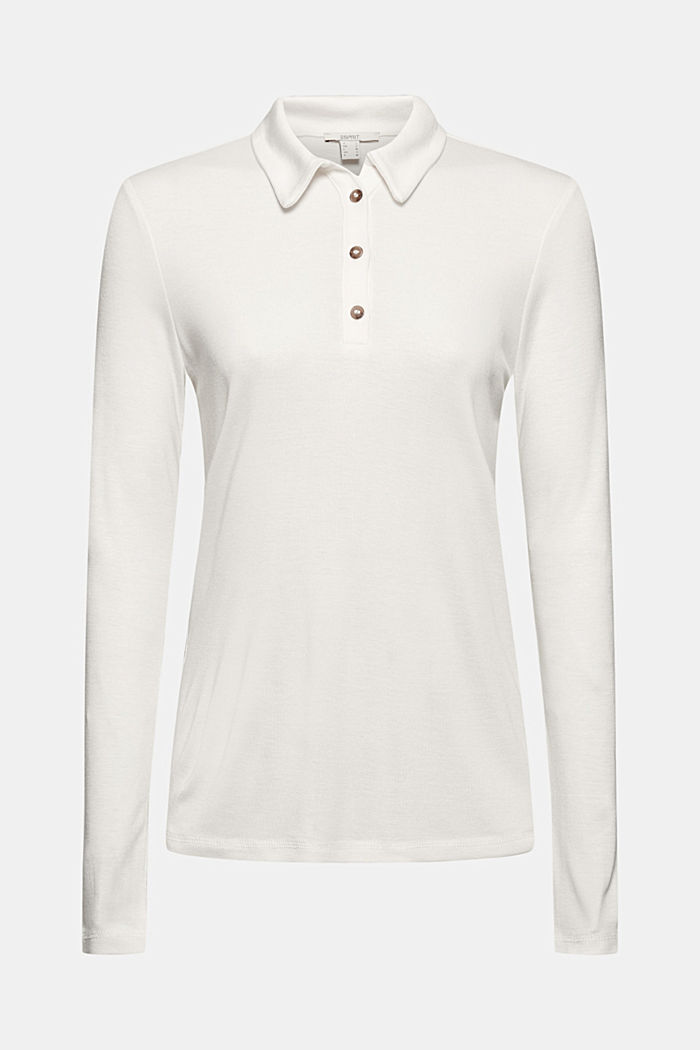 Made of lyocell (TENCEL™): long sleeve top in a polo shirt style, OFF WHITE, detail image number 6