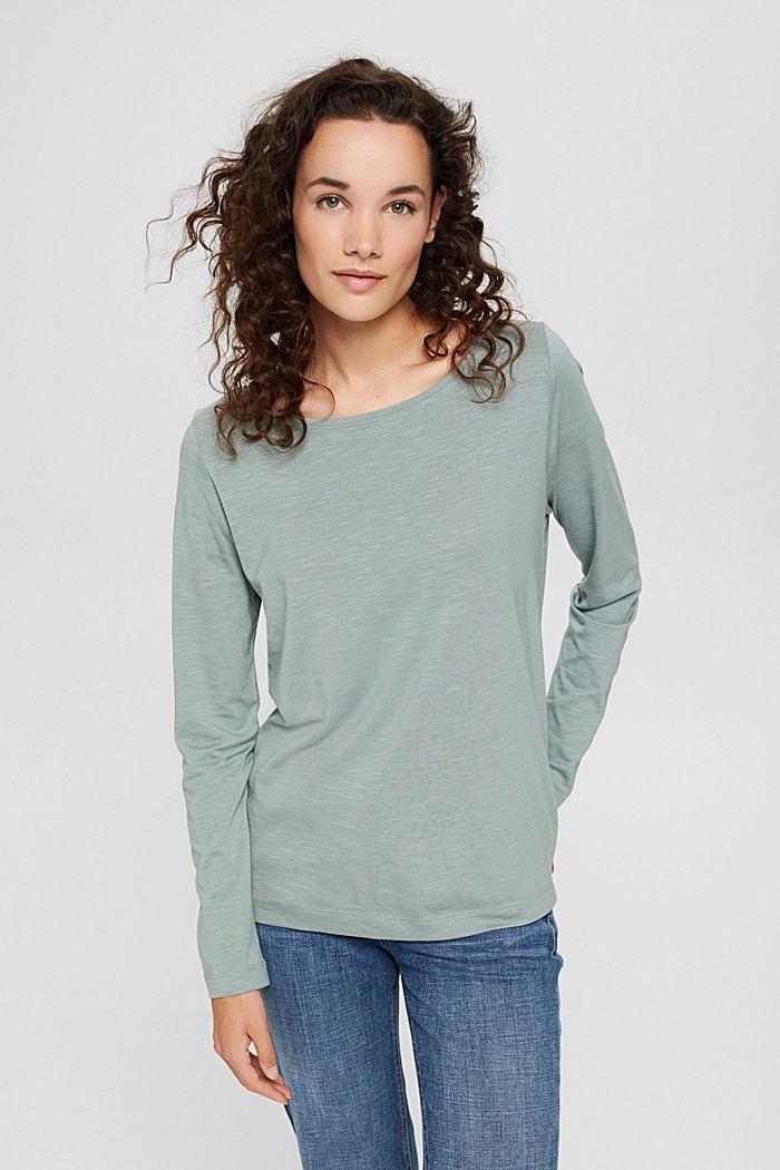 Camiseta de manga larga confeccionada en una mezcla de algodón ecológico, DUSTY GREEN, detail image number 0