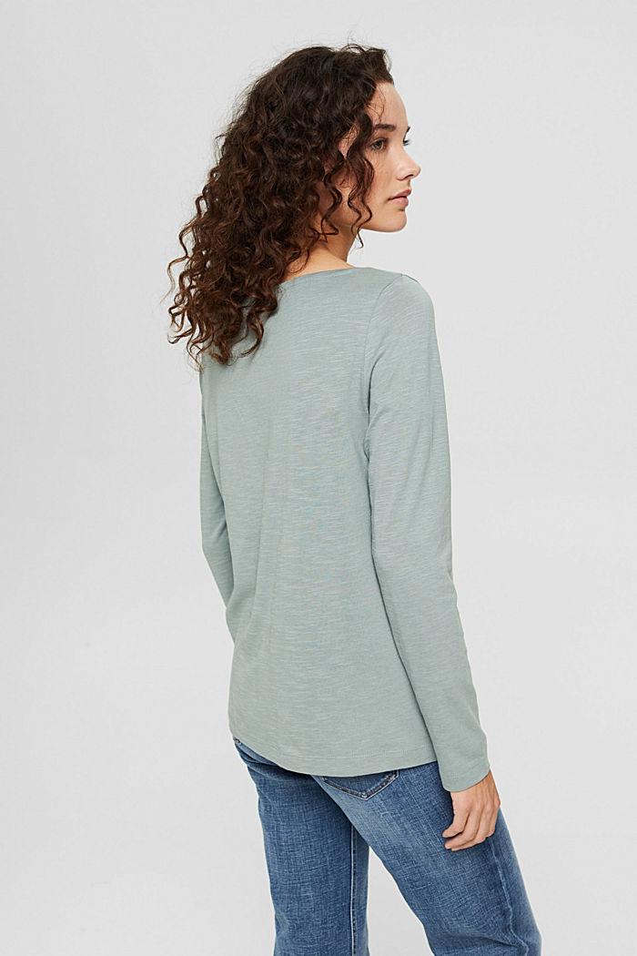 Camiseta de manga larga confeccionada en una mezcla de algodón ecológico, DUSTY GREEN, detail image number 3