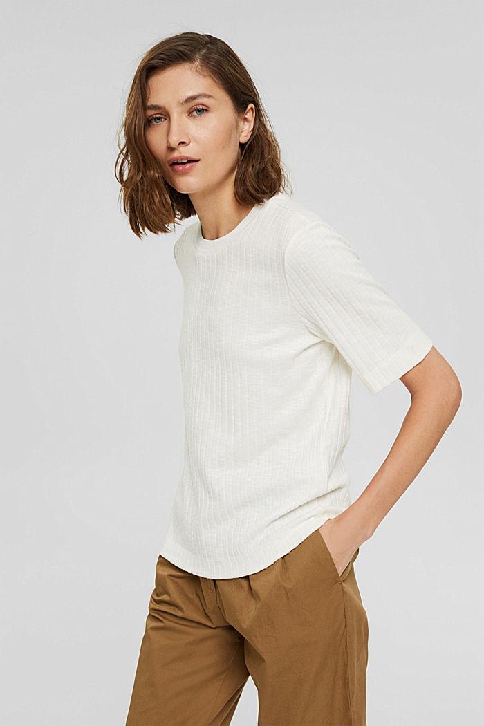 Žebrové tričko ze směsového materiálu