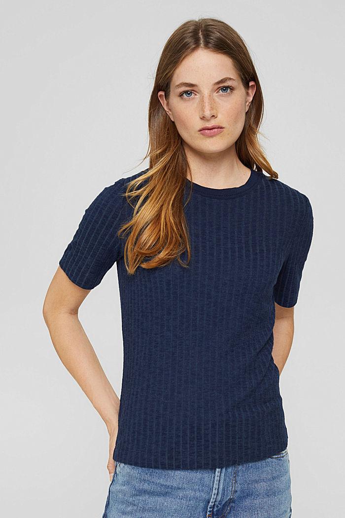 Ripp-T-Shirt aus Materialmix, NAVY, detail image number 0