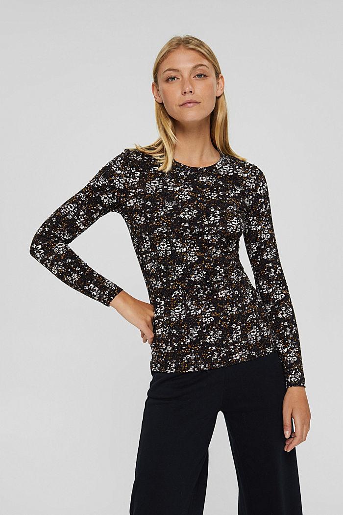 Longsleeve mit Allover-Print, Organic Cotton, BLACK, detail image number 0