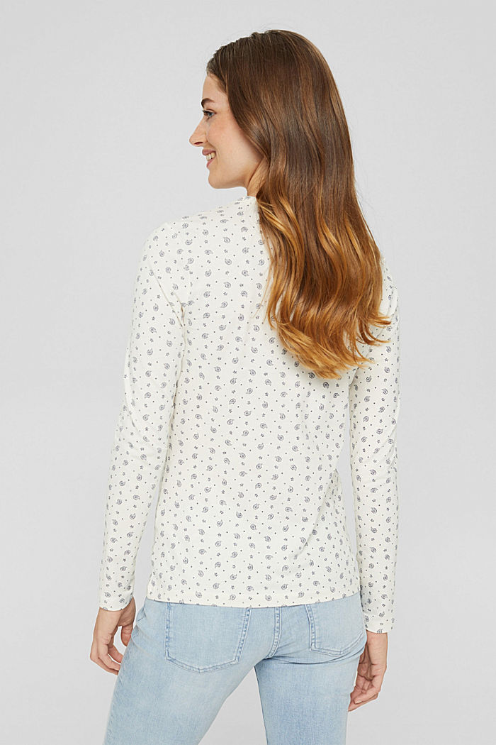 Longsleeve mit Allover-Print, Organic Cotton, OFF WHITE, detail image number 3