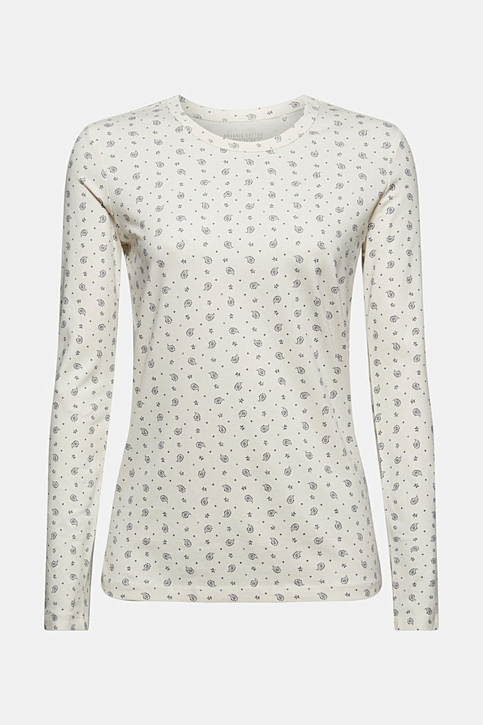 Longsleeve mit Allover-Print, Organic Cotton, OFF WHITE, detail image number 6