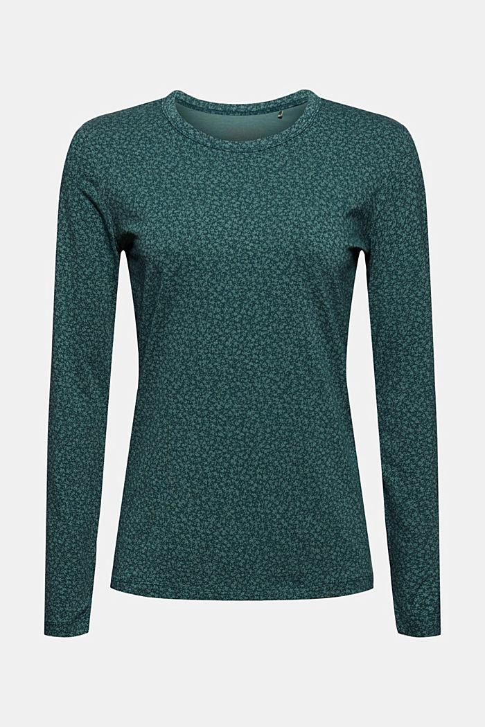 Longsleeve mit Allover-Print, Organic Cotton, DARK TEAL GREEN, detail image number 7