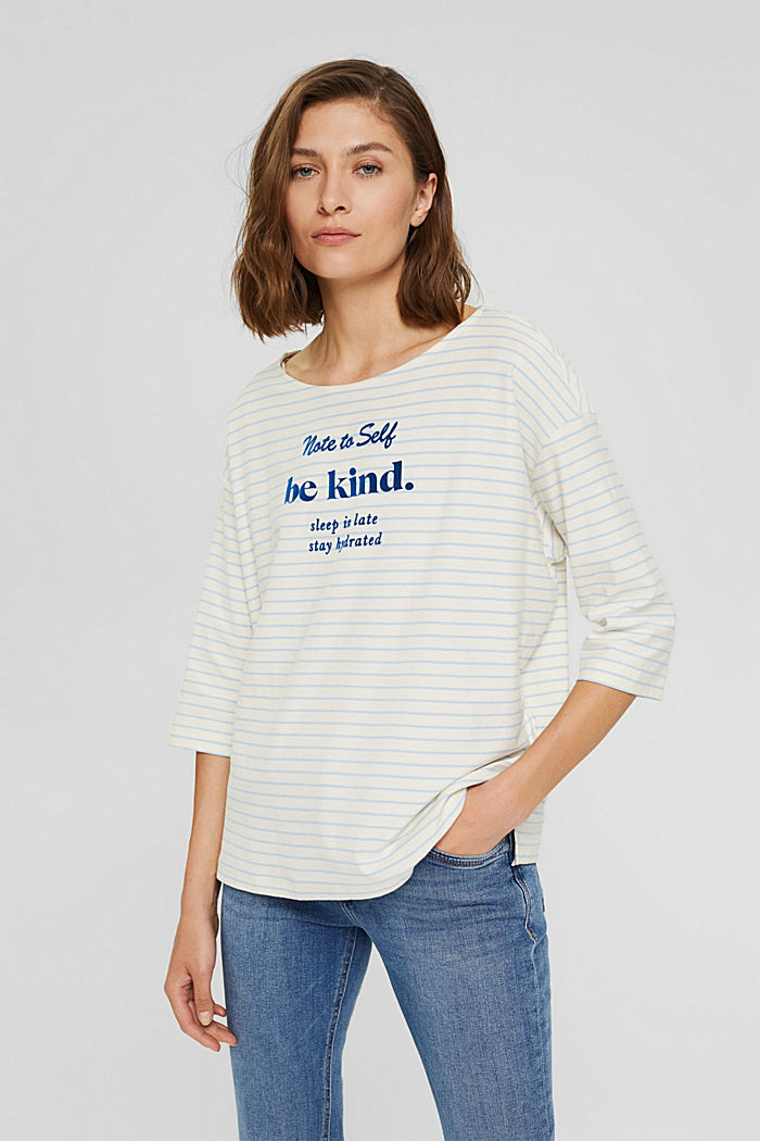 Striped long sleeve top, organic cotton, PASTEL BLUE, detail image number 0
